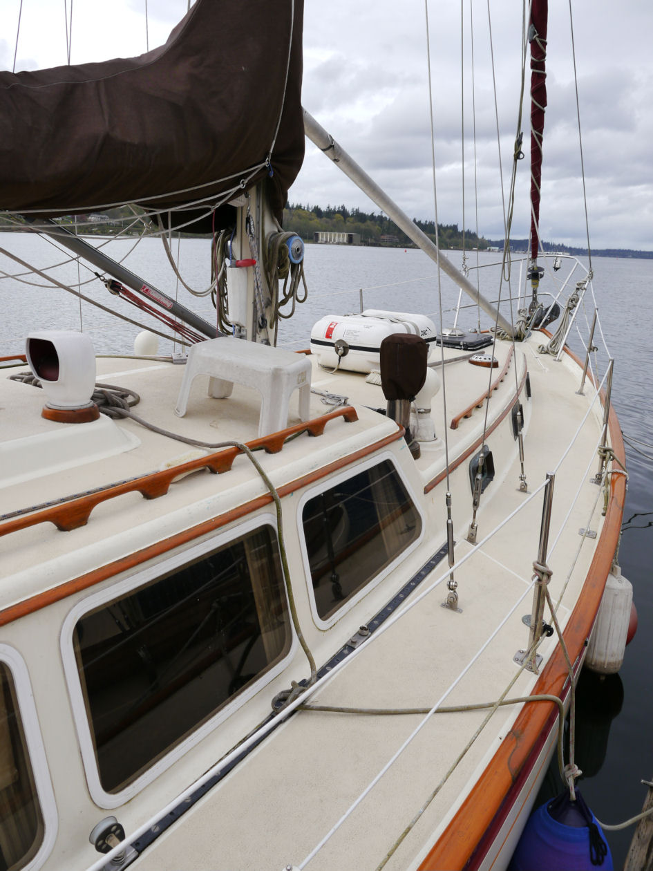 S/V Seaclusion at her mooring in Olympia.