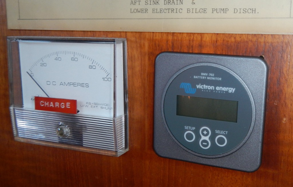 The old analog meter along side the new Victron meter.  What shall I do with the old meter?